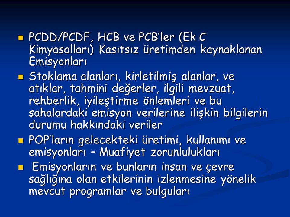 PCDD/PCDF, HCB ve PCB'ler (Ek C Kimyasalları) Kasıtsız üretimden kaynaklanan Emisyonları PCDD/PCDF, HCB ve PCB'ler (Ek C Kimyasalları) Kasıtsız üretim