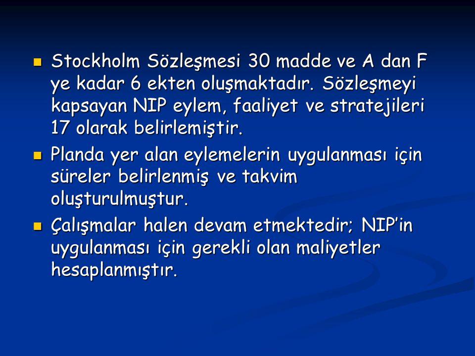 Stockholm Sözleşmesi 30 madde ve A dan F ye kadar 6 ekten oluşmaktadır. Sözleşmeyi kapsayan NIP eylem, faaliyet ve stratejileri 17 olarak belirlemişti