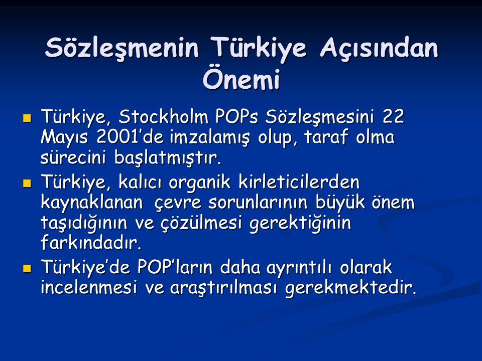 Sözleşmenin Türkiye Açısından Önemi Türkiye, Stockholm POPs Sözleşmesini 22 Mayıs 2001'de imzalamış olup, taraf olma sürecini başlatmıştır. Türkiye, S