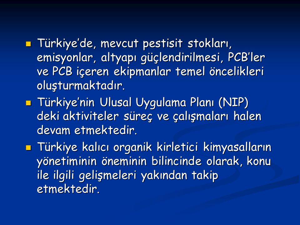 Türkiye'de, mevcut pestisit stokları, emisyonlar, altyapı güçlendirilmesi, PCB'ler ve PCB içeren ekipmanlar temel öncelikleri oluşturmaktadır. Türkiye