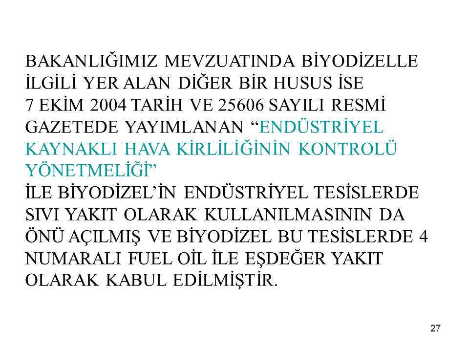 """27 BAKANLIĞIMIZ MEVZUATINDA BİYODİZELLE İLGİLİ YER ALAN DİĞER BİR HUSUS İSE 7 EKİM 2004 TARİH VE 25606 SAYILI RESMİ GAZETEDE YAYIMLANAN """"ENDÜSTRİYEL K"""