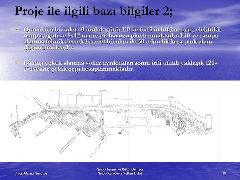 Sinop Marina Sunumu Sinop Turizm ve Kültür Derneği Sinop Karadeniz Yelken klubü10 Proje ile ilgili bazı bilgiler 2; Orta alana bir adet 40 tonluk yürür lift ve 6x15 m lift havuzu, elektrikli rampa ırgatı ve 5x12 m rampa havuzu planlanmaktadır.