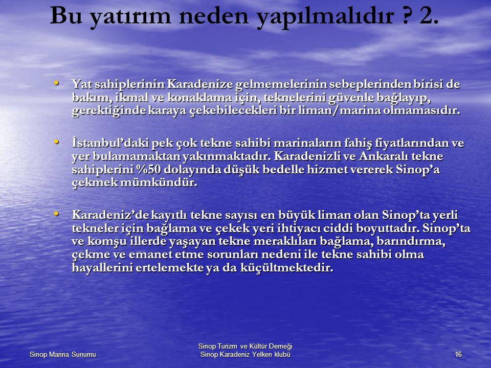 Sinop Marina Sunumu Sinop Turizm ve Kültür Derneği Sinop Karadeniz Yelken klubü16 Bu yatırım neden yapılmalıdır ? 2. Yat sahiplerinin Karadenize gelme