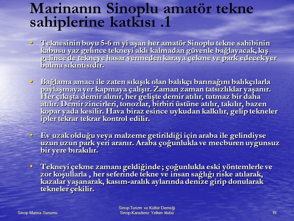Sinop Marina Sunumu Sinop Turizm ve Kültür Derneği Sinop Karadeniz Yelken klubü19 Marinanın Sinoplu amatör tekne sahiplerine katkısı.1 Teknesinin boyu 5-6 m yi aşan her amatör Sinoplu tekne sahibinin kabusu yaz gelince tekneyi aklı kalmadan güvenle bağlayacak, kış gelince de tekneye hasar vermeden karaya çekme ve park edecek yer bulma sıkıntısıdır.