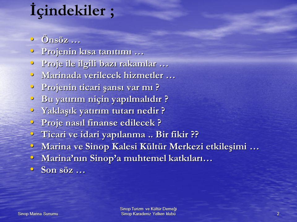 Sinop Marina Sunumu Sinop Turizm ve Kültür Derneği Sinop Karadeniz Yelken klubü2 İçindekiler ; Önsöz … Önsöz … Projenin kısa tanıtımı … Projenin kısa