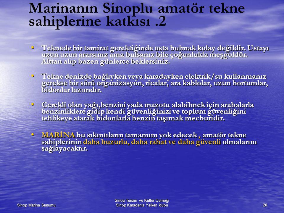 Sinop Marina Sunumu Sinop Turizm ve Kültür Derneği Sinop Karadeniz Yelken klubü20 Marinanın Sinoplu amatör tekne sahiplerine katkısı.2 Teknede bir tamirat gerektiğinde usta bulmak kolay değildir.