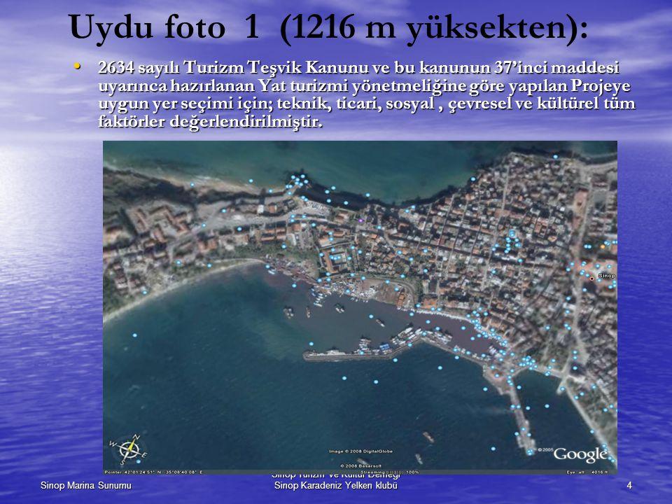 Sinop Marina Sunumu Sinop Turizm ve Kültür Derneği Sinop Karadeniz Yelken klubü4 Uydu foto 1 (1216 m yüksekten): 2634 sayılı Turizm Teşvik Kanunu ve bu kanunun 37'inci maddesi uyarınca hazırlanan Yat turizmi yönetmeliğine göre yapılan Projeye uygun yer seçimi için; teknik, ticari, sosyal, çevresel ve kültürel tüm faktörler değerlendirilmiştir.