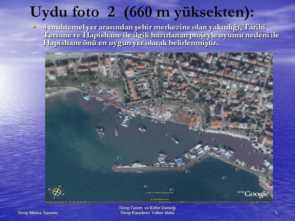 Sinop Marina Sunumu Sinop Turizm ve Kültür Derneği Sinop Karadeniz Yelken klubü5 Uydu foto 2 (660 m yüksekten): 4 muhtemel yer arasından şehir merkezi