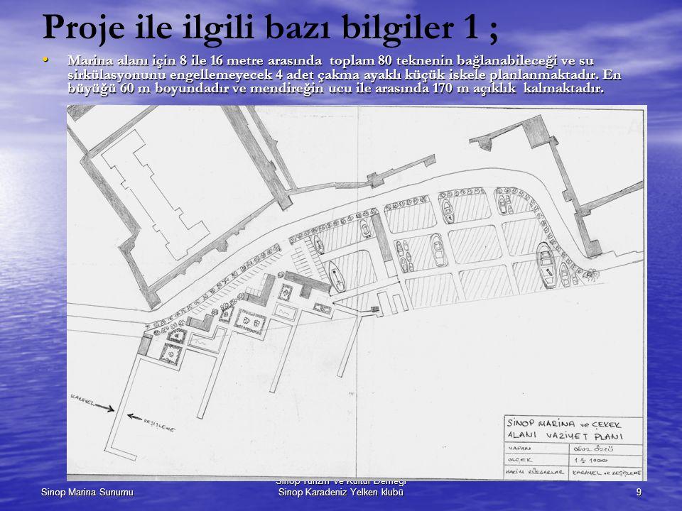Sinop Marina Sunumu Sinop Turizm ve Kültür Derneği Sinop Karadeniz Yelken klubü9 Proje ile ilgili bazı bilgiler 1 ; Marina alanı için 8 ile 16 metre a