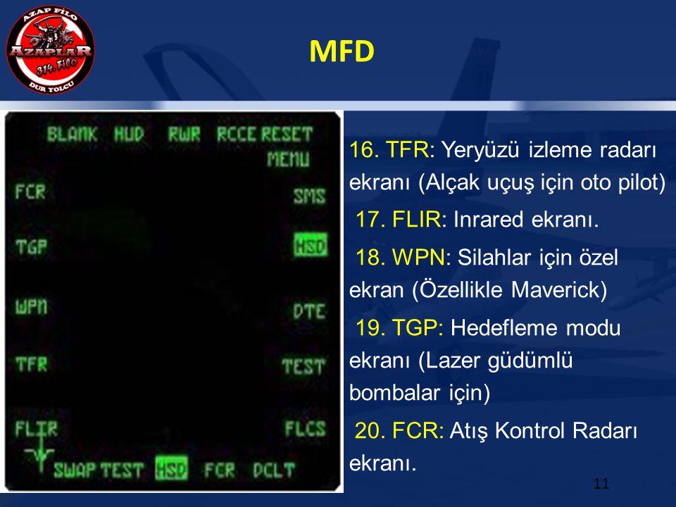 MFD 11 16. TFR: Yeryüzü izleme radarı ekranı (Alçak uçuş için oto pilot) 17. FLIR: Inrared ekranı. 18. WPN: Silahlar için özel ekran (Özellikle Maveri
