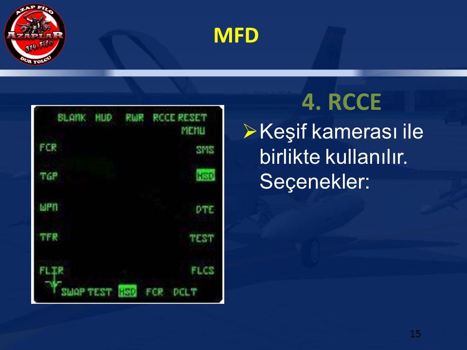 MFD 15 4. RCCE  Keşif kamerası ile birlikte kullanılır. Seçenekler: