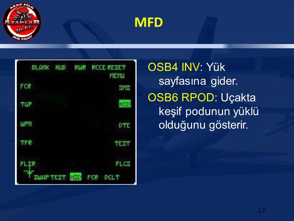 MFD 17 OSB4 INV: Yük sayfasına gider. OSB6 RPOD: Uçakta keşif podunun yüklü olduğunu gösterir.