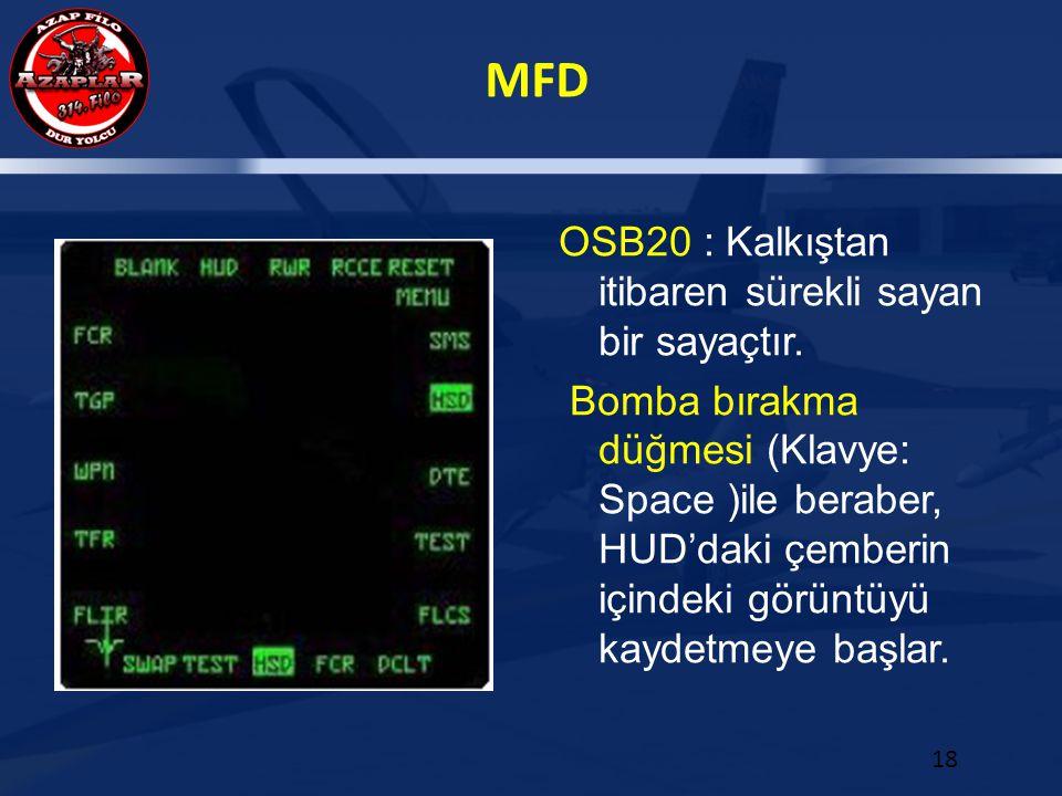 MFD 18 OSB20 : Kalkıştan itibaren sürekli sayan bir sayaçtır. Bomba bırakma düğmesi (Klavye: Space )ile beraber, HUD'daki çemberin içindeki görüntüyü