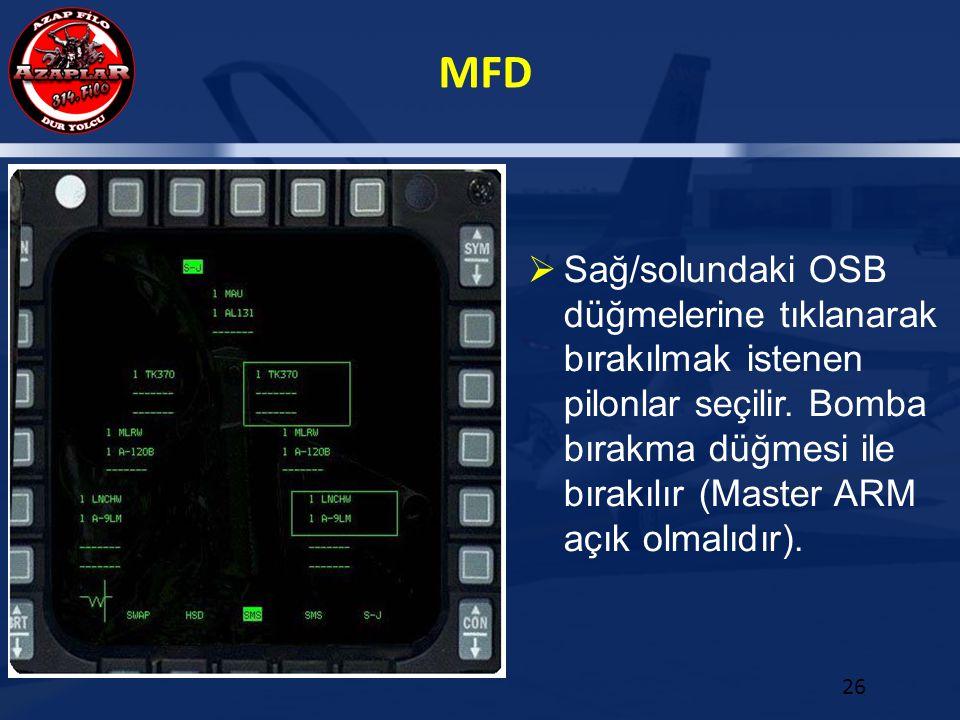 MFD 26  Sağ/solundaki OSB düğmelerine tıklanarak bırakılmak istenen pilonlar seçilir. Bomba bırakma düğmesi ile bırakılır (Master ARM açık olmalıdır)