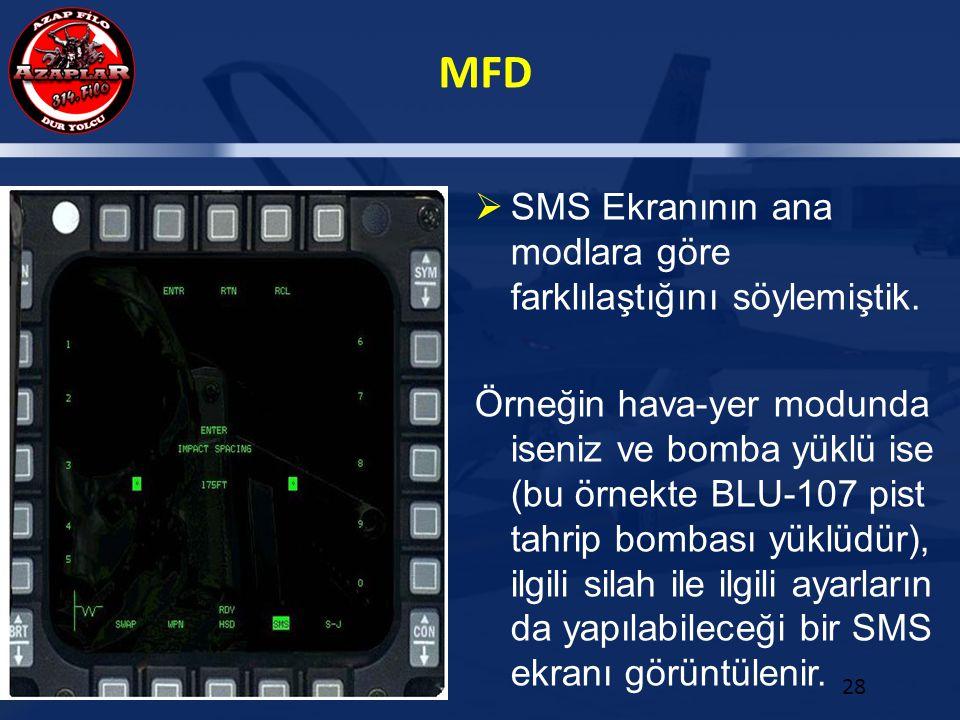 MFD 28  SMS Ekranının ana modlara göre farklılaştığını söylemiştik. Örneğin hava-yer modunda iseniz ve bomba yüklü ise (bu örnekte BLU-107 pist tahri