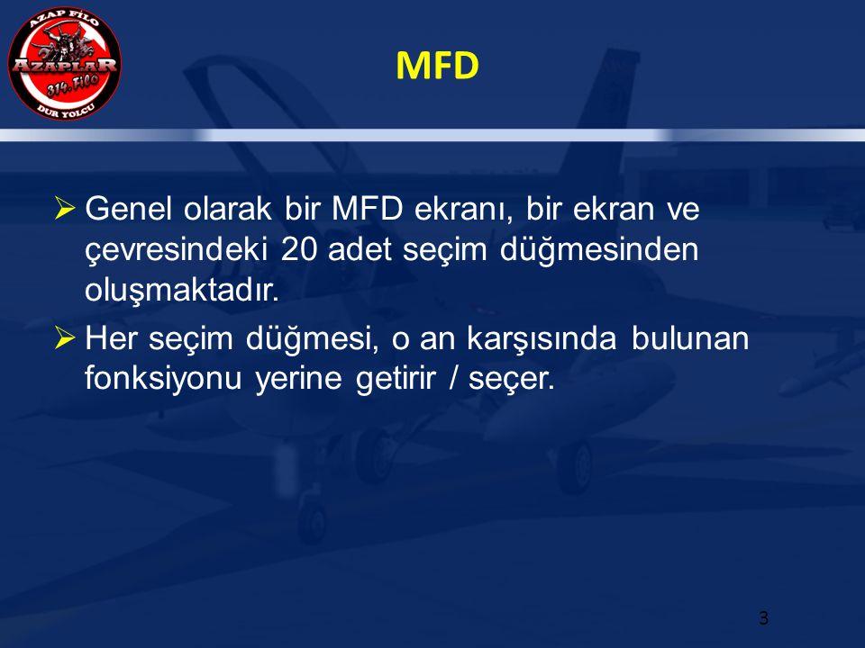 MFD 3  Genel olarak bir MFD ekranı, bir ekran ve çevresindeki 20 adet seçim düğmesinden oluşmaktadır.  Her seçim düğmesi, o an karşısında bulunan fo