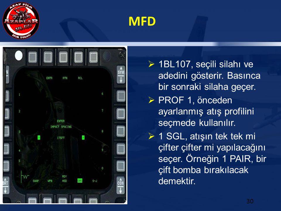 MFD 30  1BL107, seçili silahı ve adedini gösterir. Basınca bir sonraki silaha geçer.  PROF 1, önceden ayarlanmış atış profilini seçmede kullanılır.
