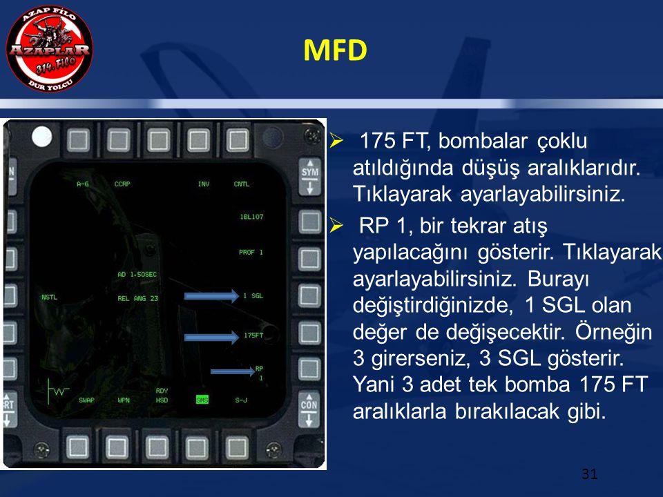 MFD 31  175 FT, bombalar çoklu atıldığında düşüş aralıklarıdır. Tıklayarak ayarlayabilirsiniz.  RP 1, bir tekrar atış yapılacağını gösterir. Tıklaya
