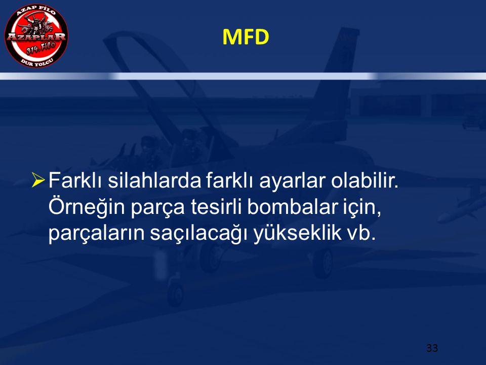 MFD 33  Farklı silahlarda farklı ayarlar olabilir. Örneğin parça tesirli bombalar için, parçaların saçılacağı yükseklik vb.