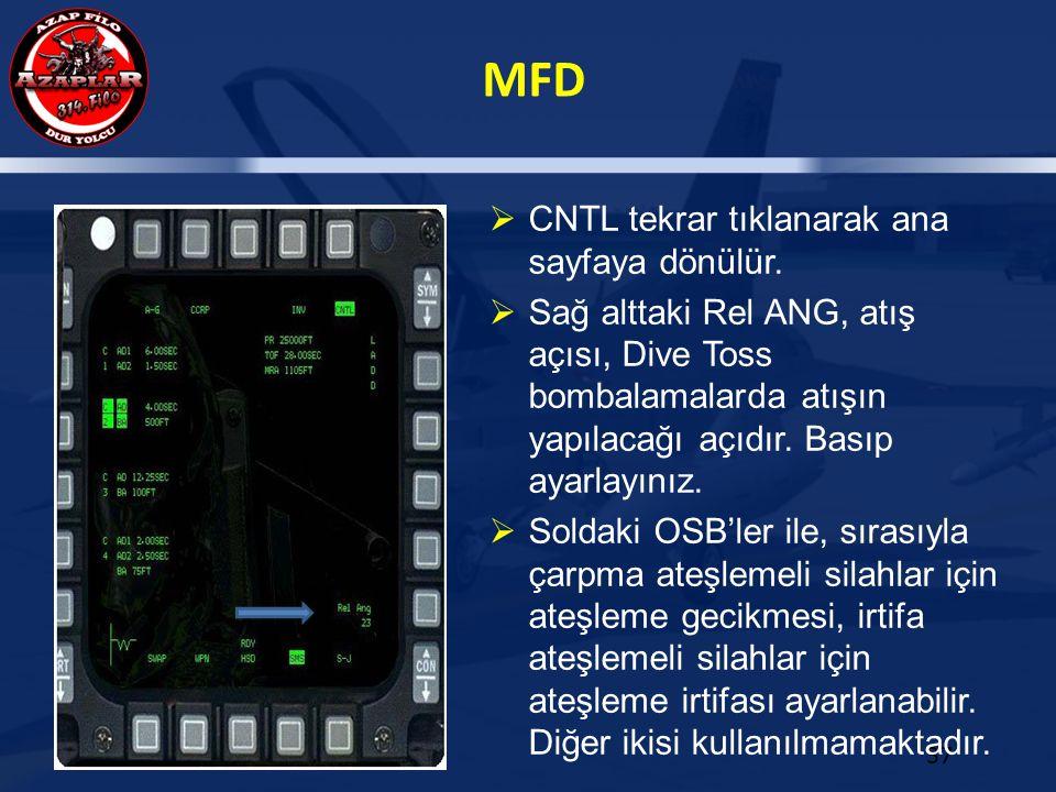 MFD 37  CNTL tekrar tıklanarak ana sayfaya dönülür.  Sağ alttaki Rel ANG, atış açısı, Dive Toss bombalamalarda atışın yapılacağı açıdır. Basıp ayarl