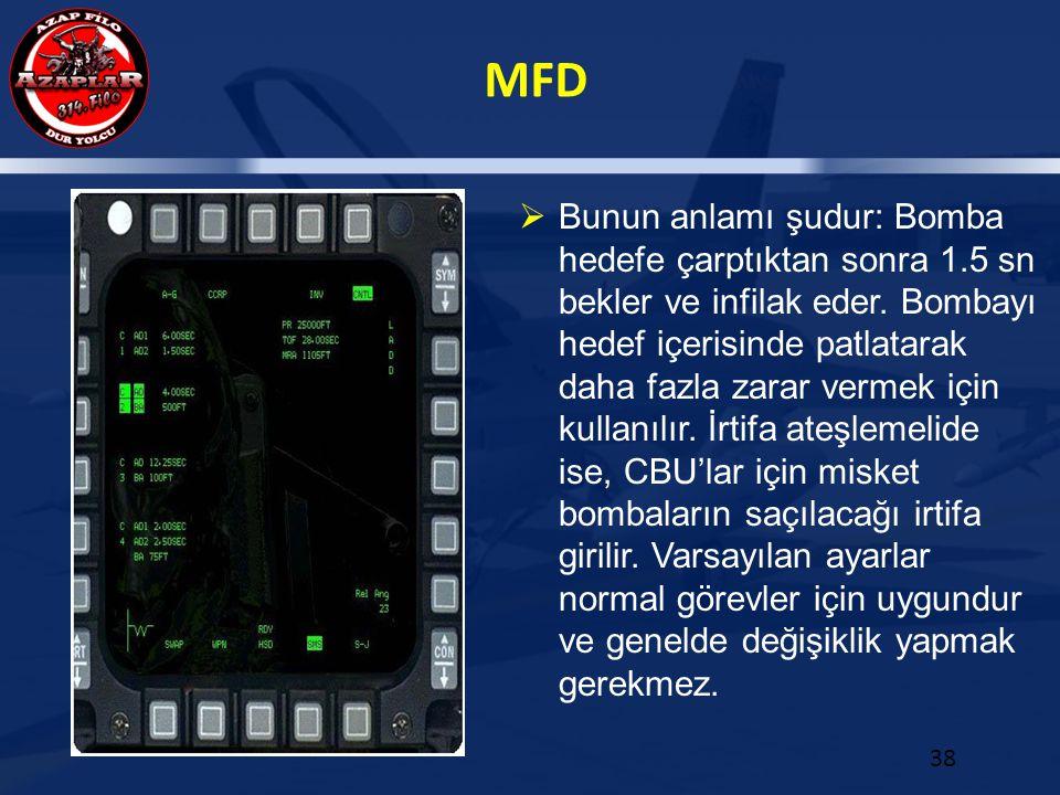 MFD 38  Bunun anlamı şudur: Bomba hedefe çarptıktan sonra 1.5 sn bekler ve infilak eder. Bombayı hedef içerisinde patlatarak daha fazla zarar vermek