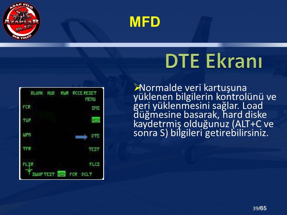 MFD 39 /65  Normalde veri kartuşuna yüklenen bilgilerin kontrolünü ve geri yüklenmesini sağlar. Load düğmesine basarak, hard diske kaydetrmiş olduğun
