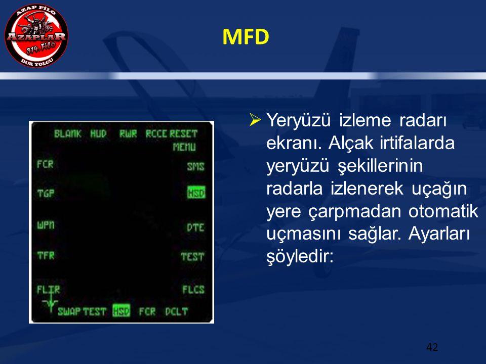 MFD 42  Yeryüzü izleme radarı ekranı. Alçak irtifalarda yeryüzü şekillerinin radarla izlenerek uçağın yere çarpmadan otomatik uçmasını sağlar. Ayarla