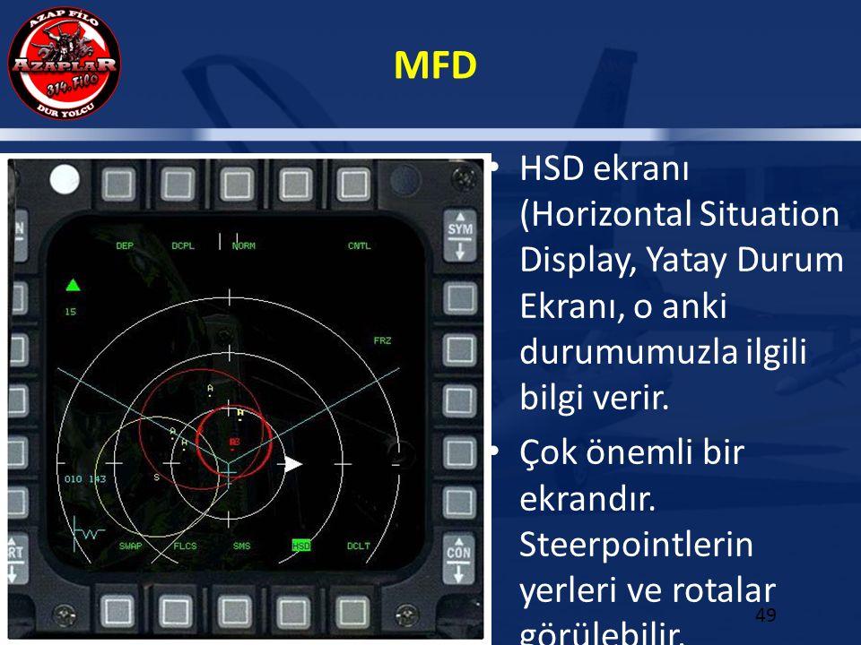 MFD 49 HSD ekranı (Horizontal Situation Display, Yatay Durum Ekranı, o anki durumumuzla ilgili bilgi verir. Çok önemli bir ekrandır. Steerpointlerin y