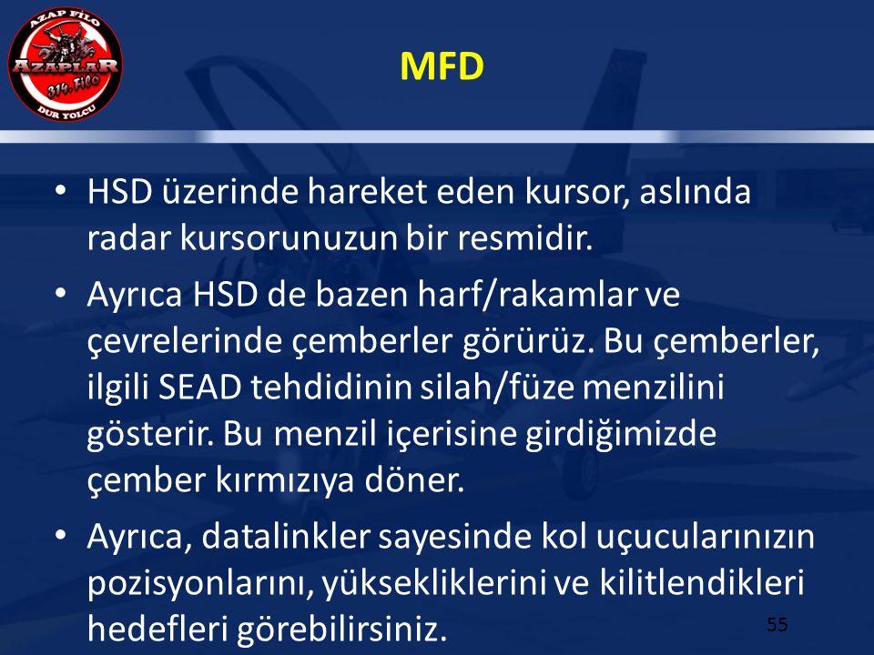 MFD 55 HSD üzerinde hareket eden kursor, aslında radar kursorunuzun bir resmidir. Ayrıca HSD de bazen harf/rakamlar ve çevrelerinde çemberler görürüz.