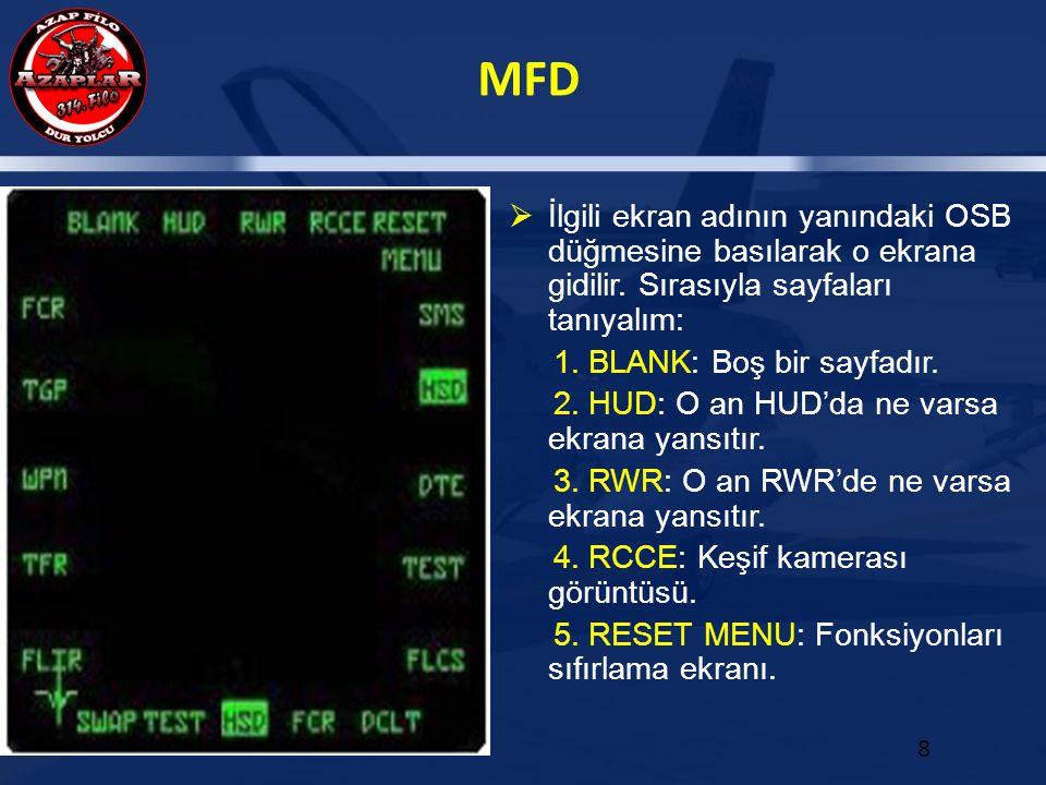MFD 8  İlgili ekran adının yanındaki OSB düğmesine basılarak o ekrana gidilir. Sırasıyla sayfaları tanıyalım: 1. BLANK: Boş bir sayfadır. 2. HUD: O a