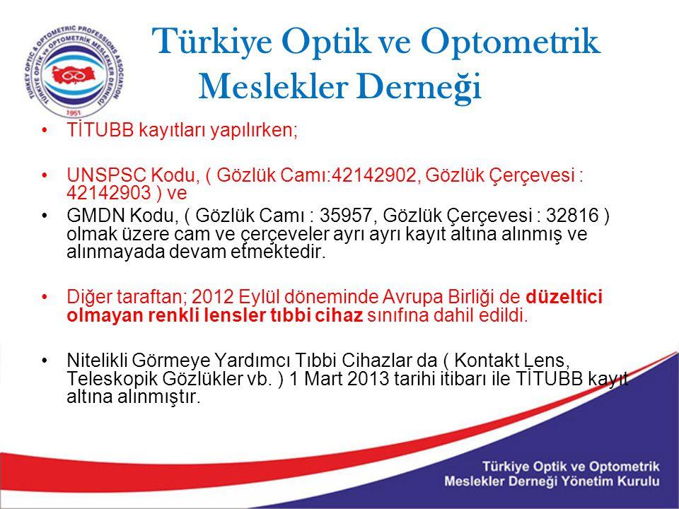 Türkiye Optik ve Optometrik Meslekler Derne ğ i TİTUBB kayıtları yapılırken; UNSPSC Kodu, ( Gözlük Camı:42142902, Gözlük Çerçevesi : 42142903 ) ve GMDN Kodu, ( Gözlük Camı : 35957, Gözlük Çerçevesi : 32816 ) olmak üzere cam ve çerçeveler ayrı ayrı kayıt altına alınmış ve alınmayada devam etmektedir.