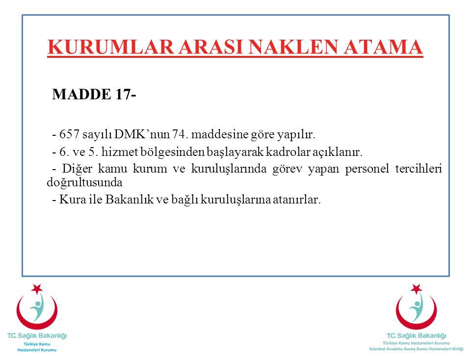 KURUMLAR ARASI NAKLEN ATAMA MADDE 17- - 657 sayılı DMK'nun 74. maddesine göre yapılır. - 6. ve 5. hizmet bölgesinden başlayarak kadrolar açıklanır. -
