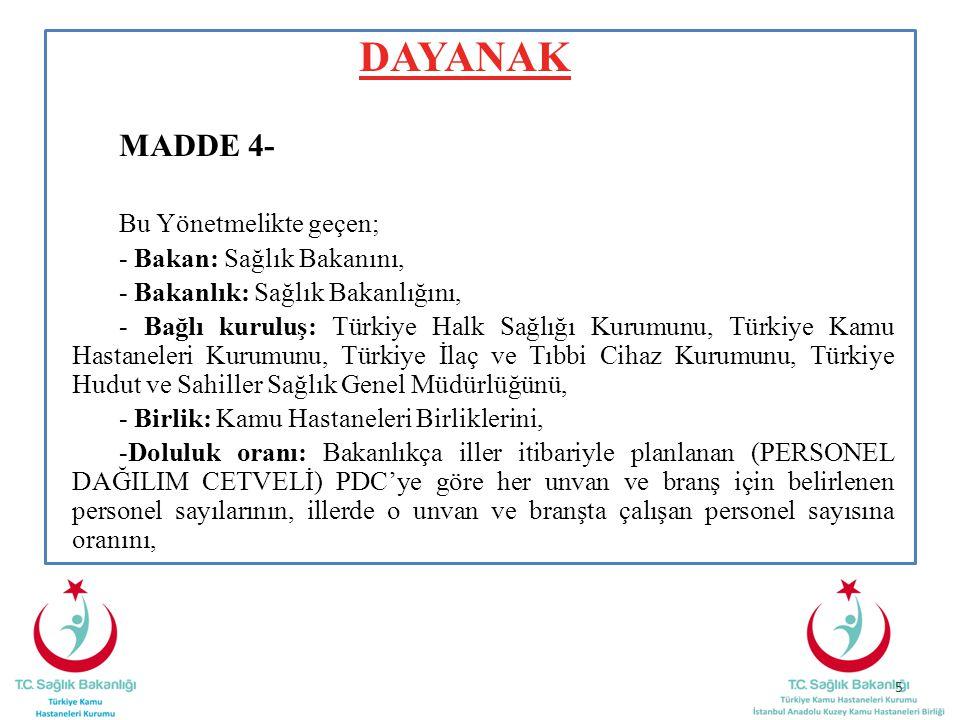 DAYANAK MADDE 4- Bu Yönetmelikte geçen; - Bakan: Sağlık Bakanını, - Bakanlık: Sağlık Bakanlığını, - Bağlı kuruluş: Türkiye Halk Sağlığı Kurumunu, Türk