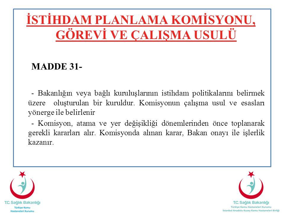 İSTİHDAM PLANLAMA KOMİSYONU, GÖREVİ VE ÇALIŞMA USULÜ MADDE 31- - Bakanlığın veya bağlı kuruluşlarının istihdam politikalarını belirmek üzere oluşturul
