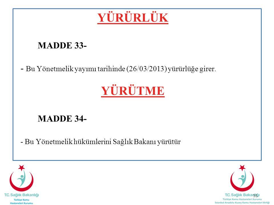YÜRÜRLÜK MADDE 33- - Bu Yönetmelik yayımı tarihinde (26/03/2013) yürürlüğe girer. YÜRÜTME MADDE 34- - Bu Yönetmelik hükümlerini Sağlık Bakanı yürütür