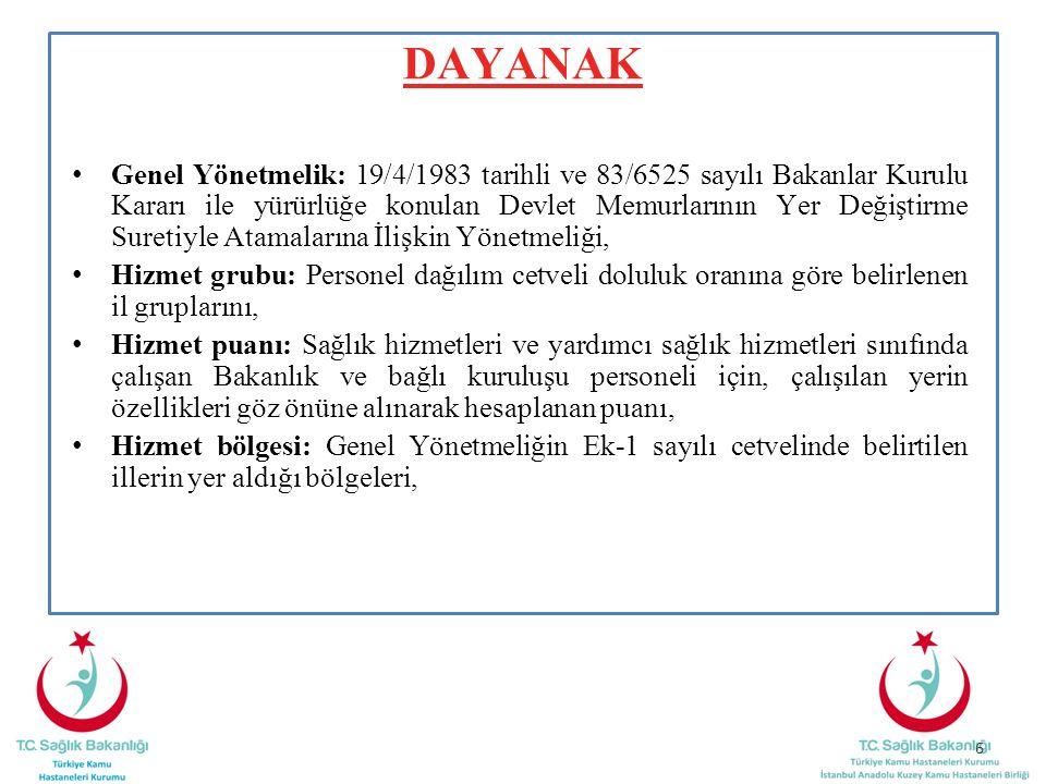 ÜST HİZMET BÖLGELERİNDEN ALT HİZMET BÖLGELERİNE VE BÖLGE İÇİ ATAMA MADDE 26- - Atama dönemlerine bağlı kalmaksızın talep doğrultusunda A grubu illerinden B,C,D hizmet grubu ve alt hizmet bölgelerinin bütün hizmet grubundaki illere PDC uygun olması durumunda atama yapılabilir - Kendi unvan ve branşında A hizmet grubunda olmak şartıyla Ankara, İstanbul İzmir illerinde görev yapan personelin A hizmet grubu illere atamaları PDC ve kadro durumu uygun olması durumunda her zaman yapılabilir - İl merkezinden ilçe, belde ve köylere PDC ve kadro uygun olması durumunda atama yapılabilir - Ancak tabip ve uzman tabipler; ilçe, belde ve köylerden 1,2 ve 3 üncü hizmet bölgesinde bulunan il merkezlerine atanamaz.