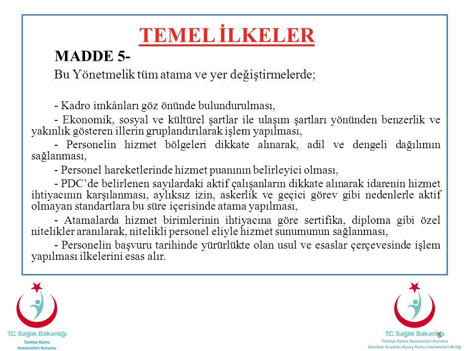TEMEL İLKELER MADDE 5- Bu Yönetmelik tüm atama ve yer değiştirmelerde; - Kadro imkânları göz önünde bulundurulması, - Ekonomik, sosyal ve kültürel şar