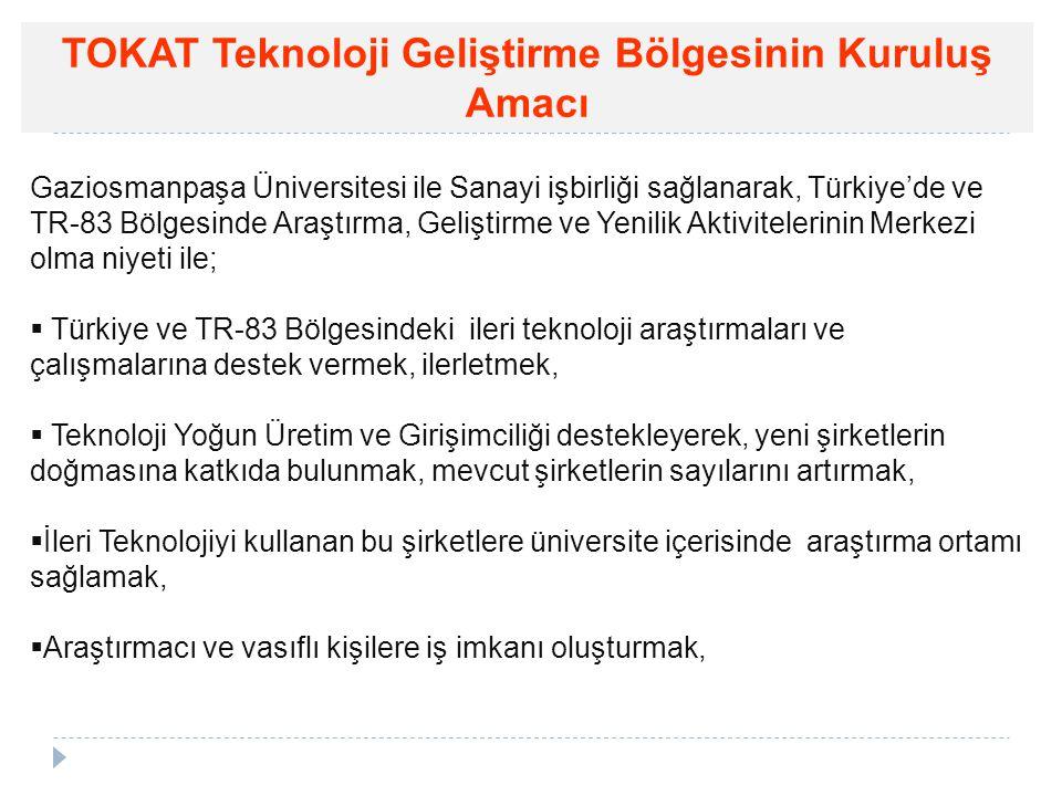 TOKAT Teknoloji Geliştirme Bölgesinin Kuruluş Amacı Gaziosmanpaşa Üniversitesi ile Sanayi işbirliği sağlanarak, Türkiye'de ve TR-83 Bölgesinde Araştır