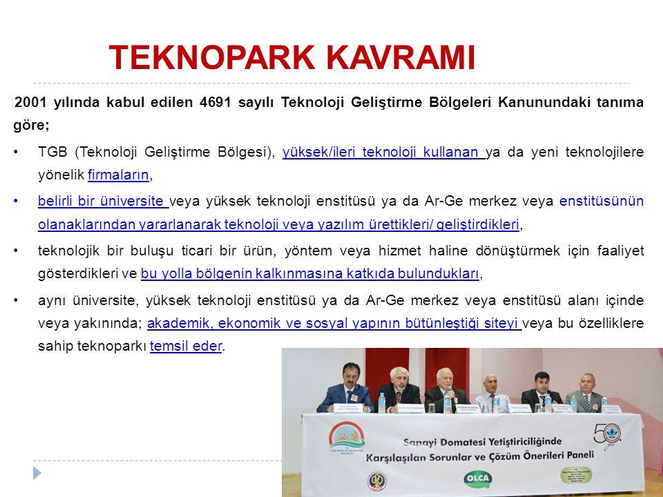 2001 yılında kabul edilen 4691 sayılı Teknoloji Geliştirme Bölgeleri Kanunundaki tanıma göre; TGB (Teknoloji Geliştirme Bölgesi), yüksek/ileri teknolo