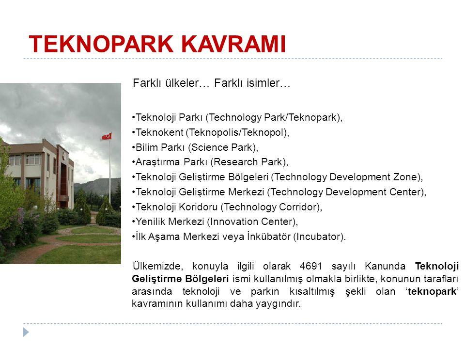 Farklı ülkeler… Farklı isimler… Teknoloji Parkı (Technology Park/Teknopark), Teknokent (Teknopolis/Teknopol), Bilim Parkı (Science Park), Araştırma Pa
