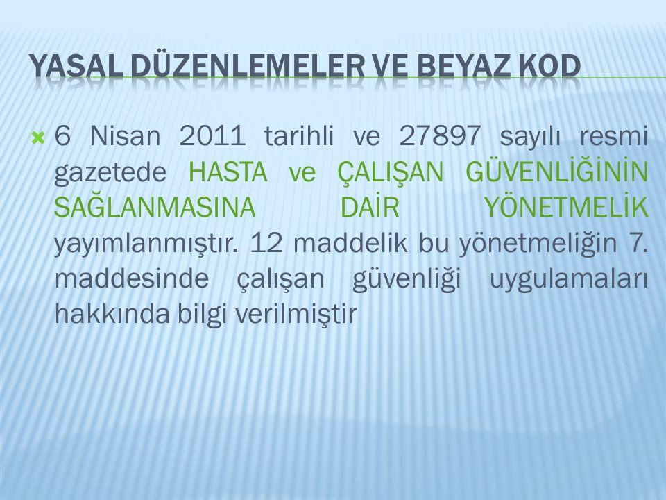  6 Nisan 2011 tarihli ve 27897 sayılı resmi gazetede HASTA ve ÇALIŞAN GÜVENLİĞİNİN SAĞLANMASINA DAİR YÖNETMELİK yayımlanmıştır. 12 maddelik bu yönetm