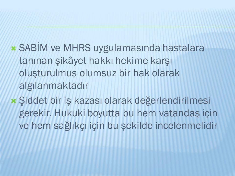  SABİM ve MHRS uygulamasında hastalara tanınan şikâyet hakkı hekime karşı oluşturulmuş olumsuz bir hak olarak algılanmaktadır  Şiddet bir iş kazası
