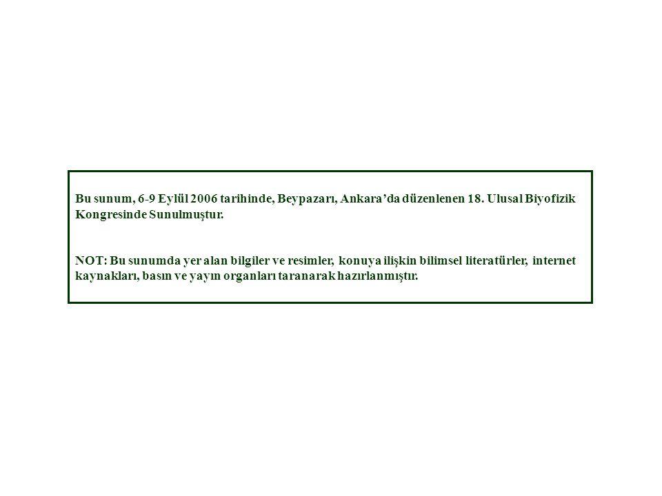 Bu sunum, 6-9 Eylül 2006 tarihinde, Beypazarı, Ankara'da düzenlenen 18. Ulusal Biyofizik Kongresinde Sunulmuştur. NOT: Bu sunumda yer alan bilgiler ve