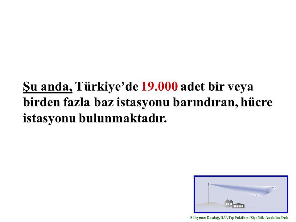 Şu anda, Türkiye'de 19.000 adet bir veya birden fazla baz istasyonu barındıran, hücre istasyonu bulunmaktadır. Süleyman Daşdağ, D.Ü. Tıp Fakültesi Biy