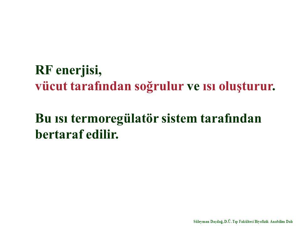 RF enerjisi, vücut tarafından soğrulur ve ısı oluşturur. Bu ısı termoregülatör sistem tarafından bertaraf edilir. Süleyman Daşdağ, D.Ü. Tıp Fakültesi