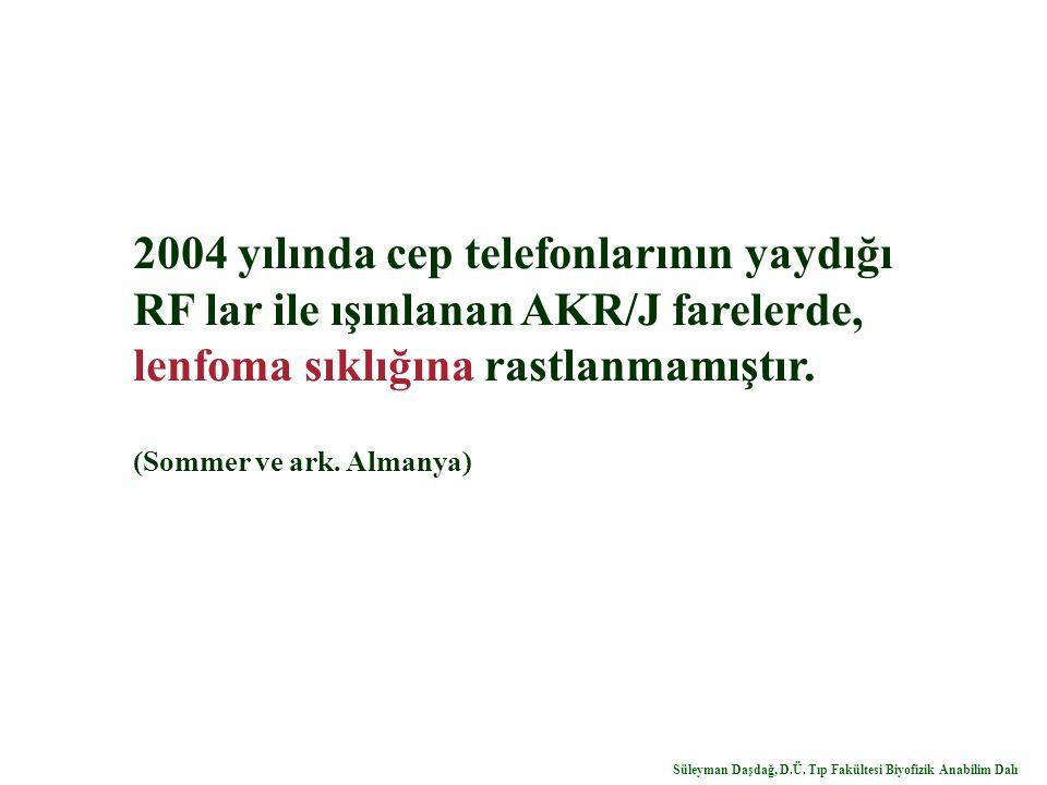 2004 yılında cep telefonlarının yaydığı RF lar ile ışınlanan AKR/J farelerde, lenfoma sıklığına rastlanmamıştır. (Sommer ve ark. Almanya) Süleyman Daş