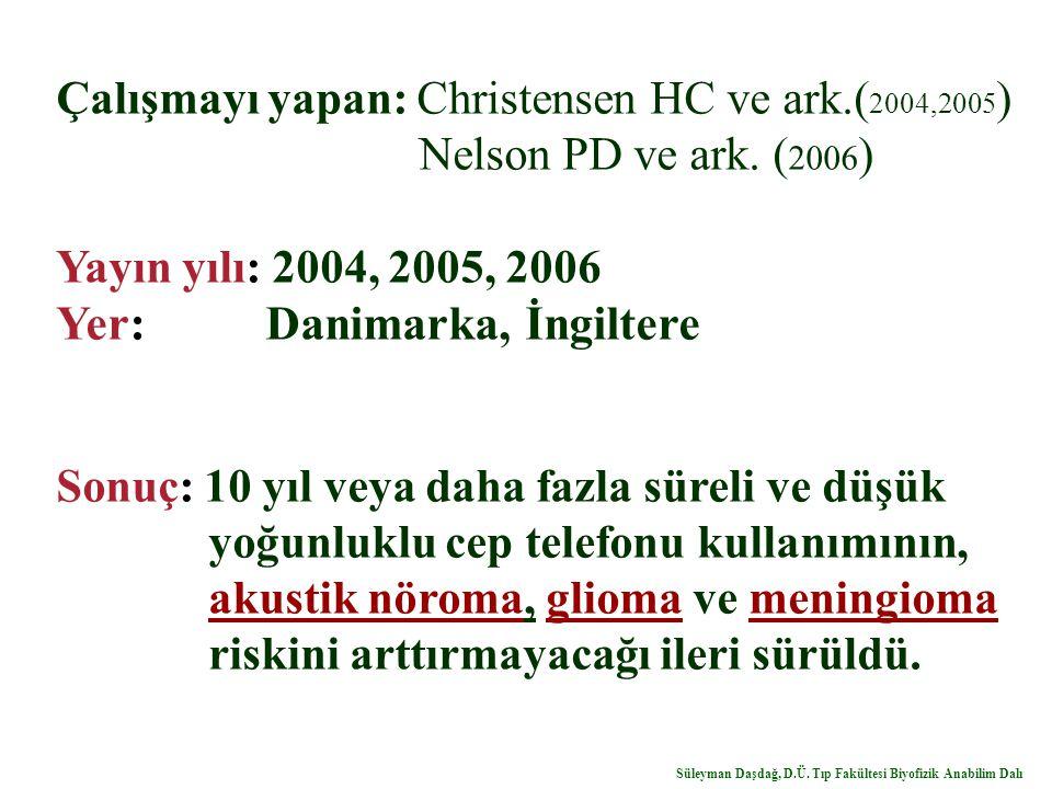 Çalışmayı yapan: Christensen HC ve ark.( 2004,2005 ) Nelson PD ve ark. ( 2006 ) Yayın yılı: 2004, 2005, 2006 Yer: Danimarka, İngiltere Sonuç: 10 yıl v