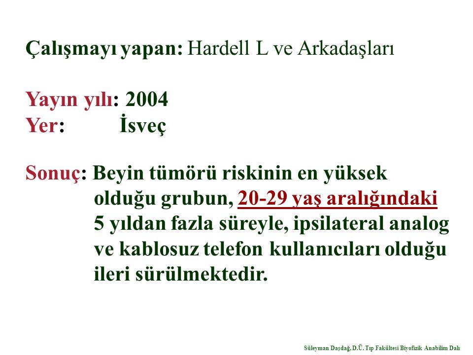 Çalışmayı yapan: Hardell L ve Arkadaşları Yayın yılı: 2004 Yer: İsveç Sonuç: Beyin tümörü riskinin en yüksek olduğu grubun, 20-29 yaş aralığındaki 5 y