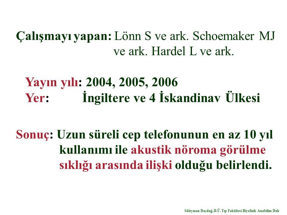 Çalışmayı yapan: Lönn S ve ark. Schoemaker MJ ve ark. Hardel L ve ark. Yayın yılı: 2004, 2005, 2006 Yer: İngiltere ve 4 İskandinav Ülkesi Sonuç: Uzun
