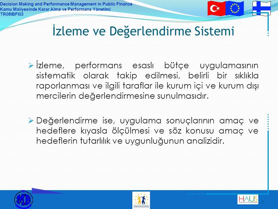 Decision Making and Performance Management in Public Finance Kamu Maliyesinde Karar Alma ve Performans Yönetimi TR08IBFI03 6 Neden İzleme & Değerlendirme.